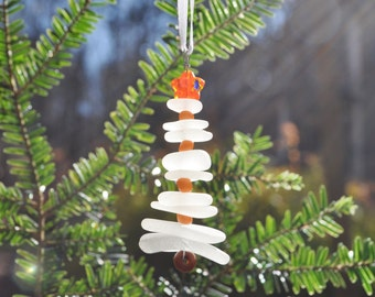 Genuine Sea Glass Delightful Tree Ornament Holiday Package Decor Stocking Stuffer White & Orange Star Free Shipping Holiday Christmas Tree