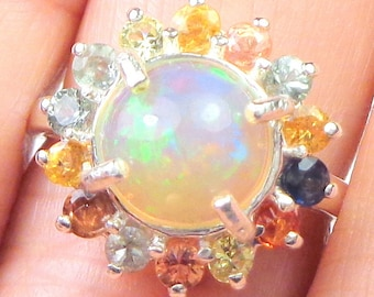 Welo Opal,Sapphire Halo, Sterling Silver Ring, Incredibly Beautiful,Natural Gemstones, Peach,Lavender, Blue, Teal Green, Yellow Color Play