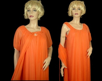 1970s orange crush nylon double chiffon & satin peignoir set ~ Small Medium ~ nightgown robe ~ Edward Saykaly Made in Canada 70s beaded