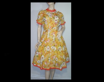 1940s floral chiffon dress ~ Small Medium ~ coral pink lace trim ~ short puffy sleeves full skirt ~ melon yellow orange large flowers