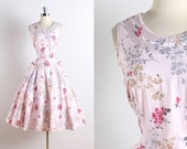 Vintage 50s Dress | vintage 1950s Kenrose dress | pink rhinestone floral cotton l/xl | 5795