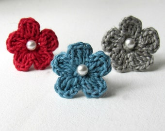 Crochet Flower Ring, Bridesmaid Flower Ring, Something Blue, Silver Adjustable Band,  Unique, Nature Wedding, Spring, Summer, Wedding Flower