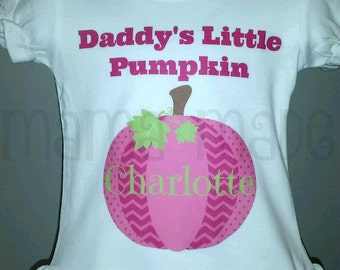 Daddy's Little Pumpkin Shirt ,Little Pumpkin Shirt,Pink Pumpkin Shirt, Pumpkin Patch shirt, Girls halloween shirt, pumpkin shirt