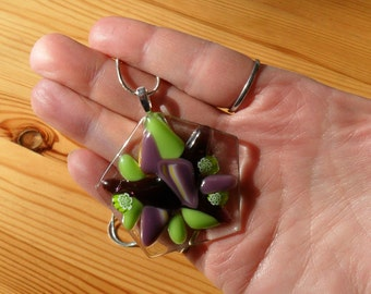Fused glass pendant - Glass jewelry - Purple and green pendant - Handmade jewelry - Pendant and chain - Fused glass lover - Glass lover gift