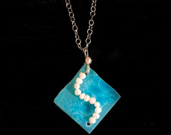 Crystlline Necklace with Fresh Water Pearls