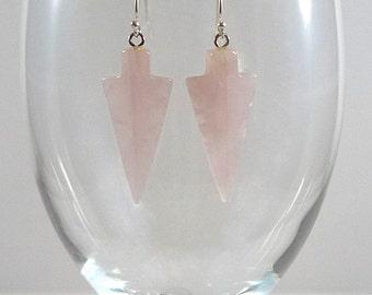 Rose Quartz Earrings Rose Quartz Gemstone Earrings Pale Pink Quartz Earrings Rose Quartz Drop Earrings Rose Quartz Silver Earrings