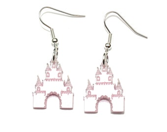 Pink Shimmer Castle Earrings