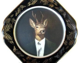 "SALE - Uncle Buck - Altered Vintage Plates 8.5"""