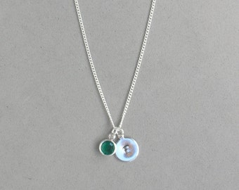Swarovski May Birthstone and HS Initial Necklace