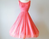 50s Dress, 1950s Chiffon Dress, Salmon Pink Ruched Prom Party Dress XS