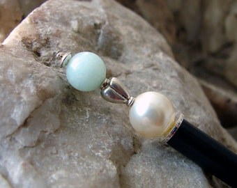 Cream Pearl and Amazonite Gemstone Hair Stick Pin with Sterling Silver Heart - Anisha