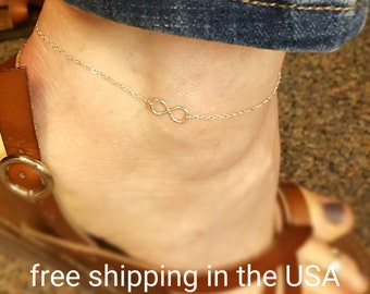 Sterling silver anklet infinity free shipping