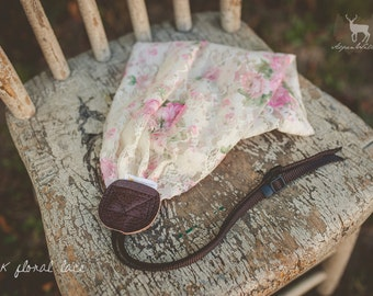 Pink Floral Lace Camera Strap
