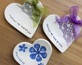 Mother of the bride and groom ceramic heart plates reserved for AshTally1