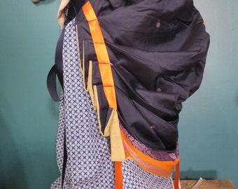 Navy blue and orange sari silk bustle, one size, steampunk, victorian, wild west