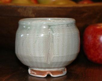 Ceramic Teabowl / Porcelain Teabowl / Shades of Green / Stripes