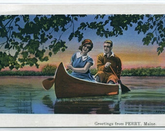 Canoeing on Lake Perry Maine linen postcard