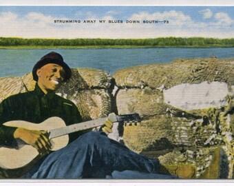 African American Black Man Blues Music Guitar linen postcard