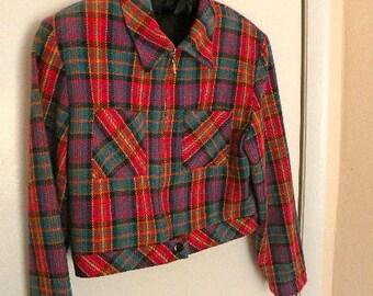Vintage Multicolor Plaid Crop Jacket