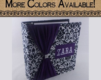 Girl Baby Book- Baby memory book- Purple and Black Damask personalized baby shower gift