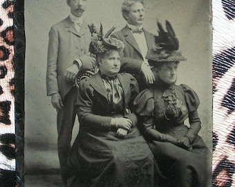 Tintype - Two Couples in Their Sunday Best