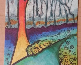 Colorful original ACEO rainbow swirls trees drawing forest ATC Fantasy Art Card