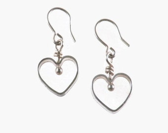 Sterling silver heart earrings on sterling silver ear wires