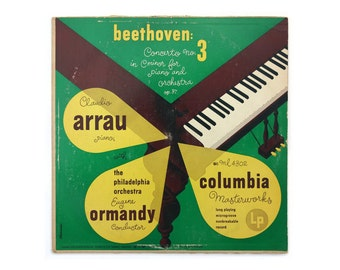 "Alex Steinweiss record album design, 1950. Claudio Arrau ""Beethoven Concerto No. 3 in C Minor for Piano and Orchestra"" LP"