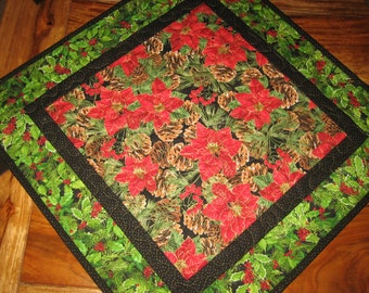 "Christmas Table Topper,Poinsettia Holly Berries and Pine Cones, Quilted 21 x 21"", Reversible"
