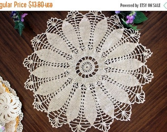 Crochet Doily in Light Tan, Vintage Crocheted Tray Cloth, Small Centerpiece, Hand Made 13346