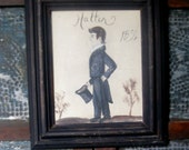early style painting  of a man in handmade frame