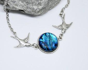 Blue Paua Shell Necklace, Antique Silver Bird Necklace, Flying Birds, Lovebirds Necklace, Silver Shell Necklace, Blue Shell Jewelry, Boho