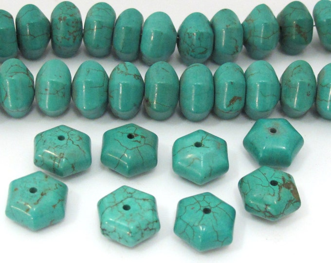 8 BEADS - Turquoise Hex melon shape beads from Nepal 12 mm - GM383