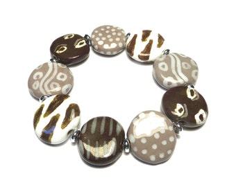 Kazuri Bangle, Grey Khaki Brown and White Ceramic Bracelet