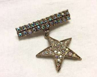 Vintage 1940's star and bar aurora borealis rhinestone pin brooch.