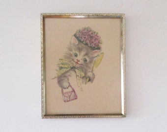 Vintage Dressed Kitty Cat Framed Art Print By Donald Art Co. Inc. N. Y. NO. 1813