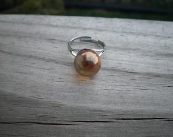 Orange Mystic Quartz Sphere Adjustable Ring