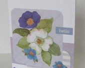 Purple Blue And White Flowers Spring Christian Hello Card With Scripture