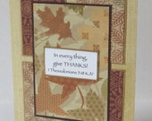 In Everything Give Thanks Fall Themed Christian Thank You Card With Scripture