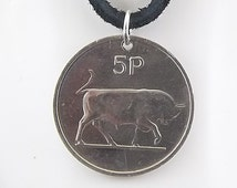 Irish Coin Necklace, 5 Pingin, Coin Pendant, Leather Cord, Mens Necklace, Womens Necklace, 1980