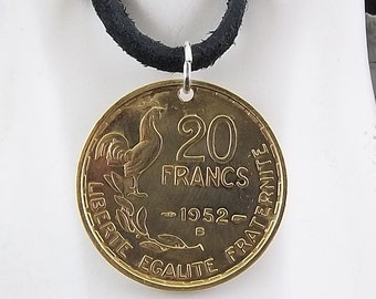 1952 French Rooster Coin Necklace, Mens Necklace, Womens Necklace, 20 Francs, Coin Pendant, Leather Cord, Vintage