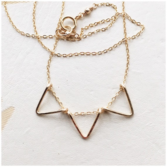 Mini Gold Triangle Bunting Necklace