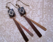 Rear Window Earrings Czech Glass Antiqued Brass Silver Tone Long Dangly Deco Style Diamond Shape