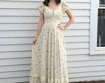 Gunne Sax Floral Print Dress Prairie Country Western Vintage 70s Wedding Bridal Corset XXS XS