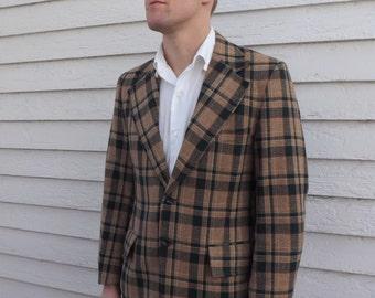 Plaid 70s Mens Jacket Retro Blazer Sports Coat Vintage Green Tan 40 39