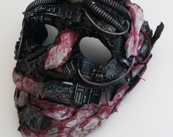 decayed zombie halloween steampunk mask, with LED light