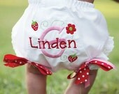 Personalized Strawberries and Flowers Diaper Cover