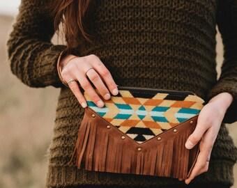 Leather Fringe Clutch Wristlet // Pendleton // Bohemian // Tribal