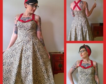 Leopard Pinup  Dress in Custom Fabrics Size 8 on Clearance