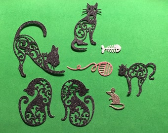 Nice assortment of Cat Die Cuts - Bazzill Bling - Set of 8